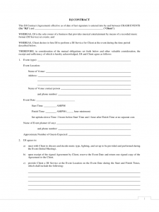 disc jockey contracts template standard dj contract d