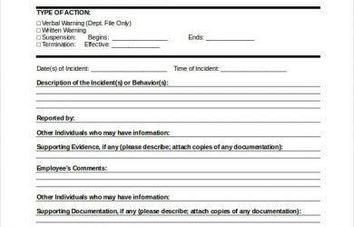 disciplinary action form employee disciplinary action form