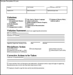 disciplinary action forms simple employee write up form