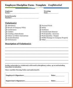 disciplinary write up form employee disciplinary action form employee discipline write up form template