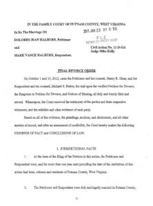 divorce agreement sample final divorce order halburn v halburn d