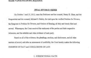 divorce agreement sample final divorce order halburn v halburn d