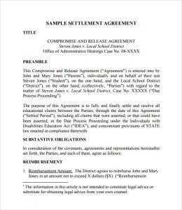 divorce settlement agreement template settlement agreement form example