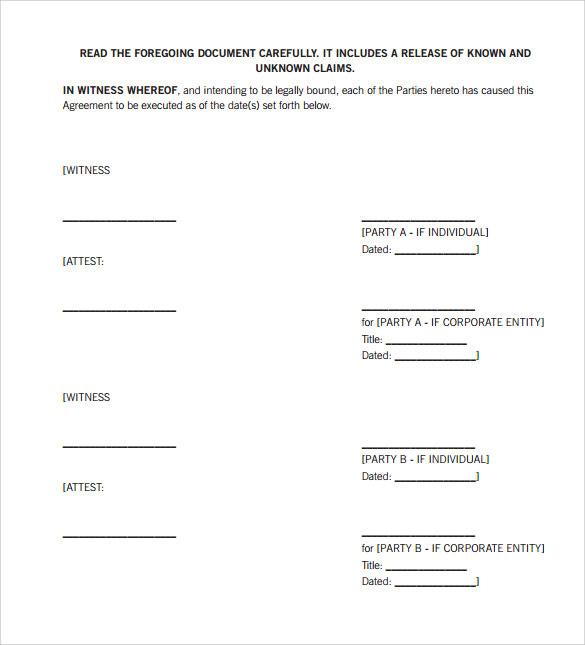 divorce settlement agreement template