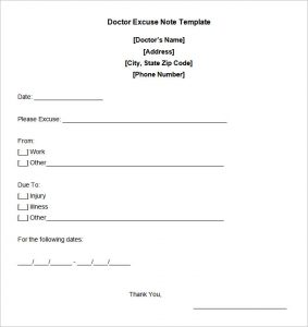 doctor excuse note doctors note templates