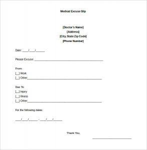 doctor excuse note sample blank doctors note for missing work excuse