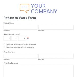 doctor excuse template for work return to work form