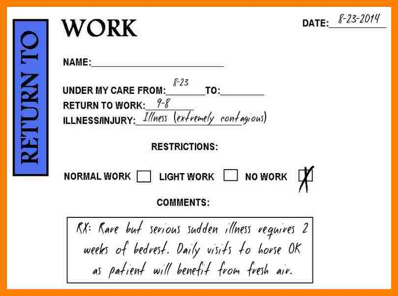 doctor notes for work free