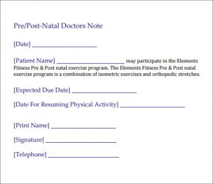 doctors excuse for work from hospital post natal doctors note