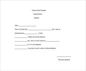 doctors excuse for work pdf medical doctors note for work word free template