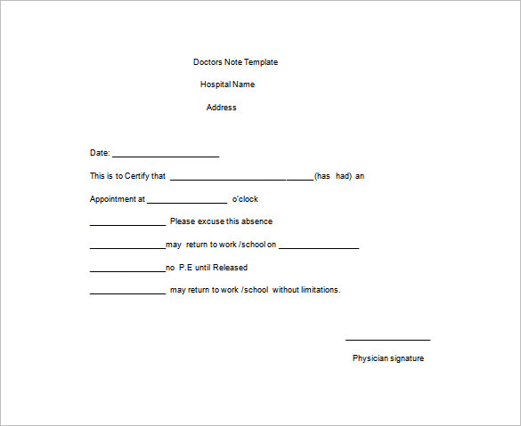 doctors note for work pdf