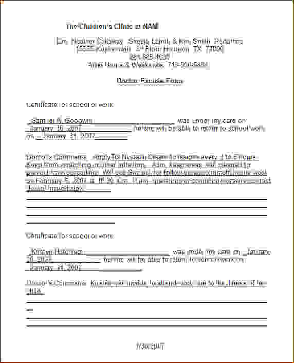 doctors note template for work