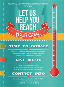donation flyer template fundraising thermometer flyer front