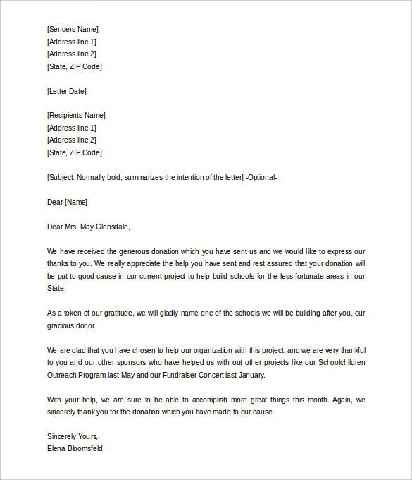donation letter sample
