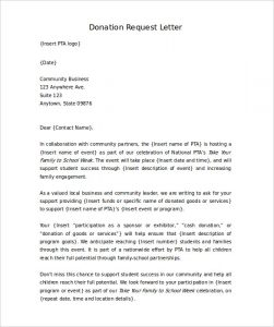 donation letter template letter requesting donations for school word format