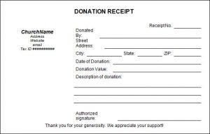 donation receipt template church donation receipt template