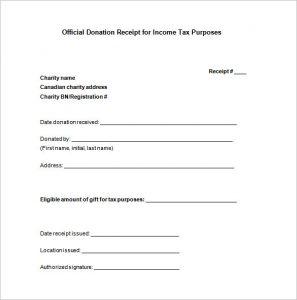 donation receipt template donation tax receipt doc free download