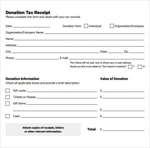 donation receipt template tax deductible donation receipt template