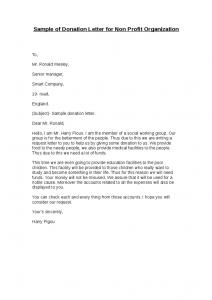 donation request letter for non profit sample of donation letter for non profit organization