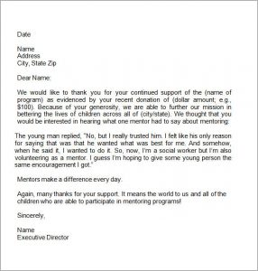 donor thank you letter thank you letter for donation