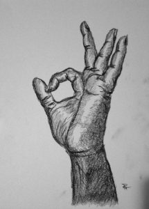 drawings of hands okay hand charcoal drawing