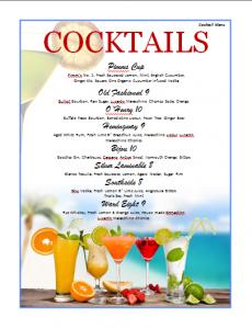 drink menu template cocktails menu template