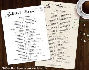drink menu template drink menu template aiwsolutions