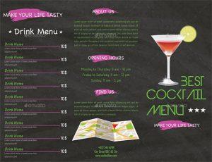 drink menu template trifold cocktail menu template