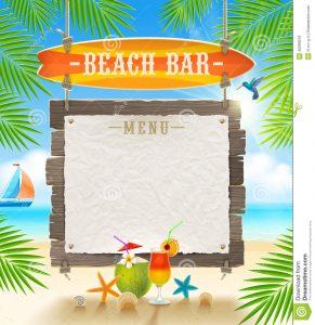 drinks menu template tropical beach bar signboard surfboard paper banner menu summer holidays design