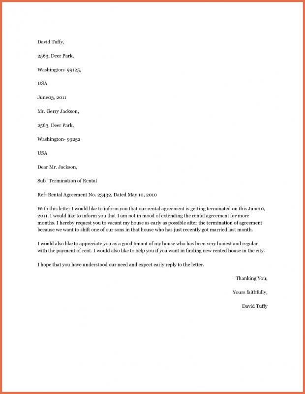 Easiest Early Termination Tenancy Contract Letter Sample