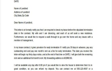 early lease termination letter rental lease early termination letter