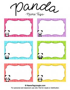 editable bookmark template panda name tags