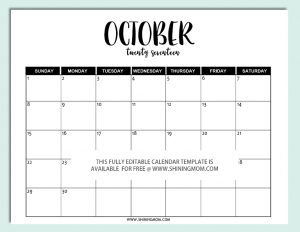 editable calendar template editable october calendar template in word