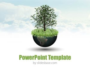 educational ppt template world growth global economy d world globe tree nature business powerpoint template plant slide