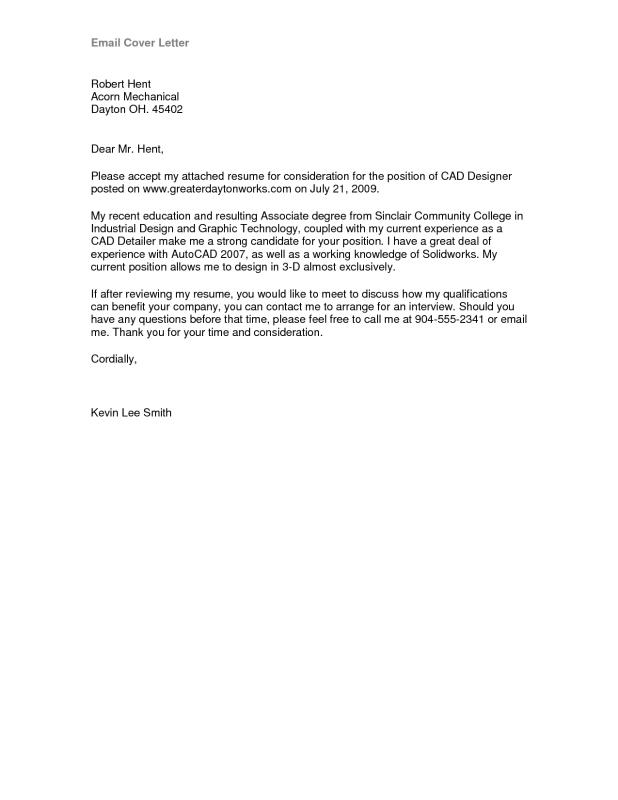 email cover letter sample
