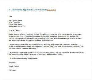 email cover letter sample internship email cover letter example pdf template free download