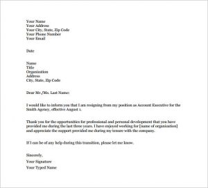 email resignation letter email resignation letter to boss free pdf download