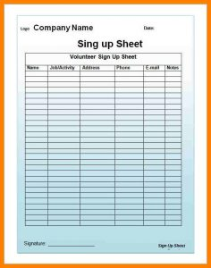 email sign up sheet email signup template printable sign up sheet template