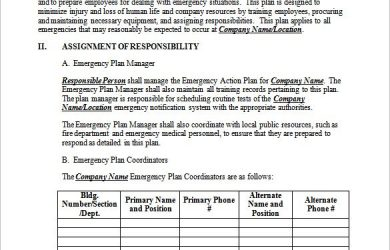 emergency action plan template medical emergency action plan example download