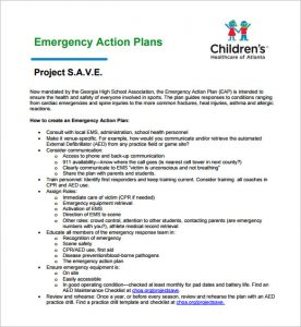 emergency action plans examples emergency action plan for sports sample template