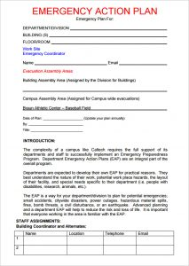 emergency action plans examples emergency action plan template california