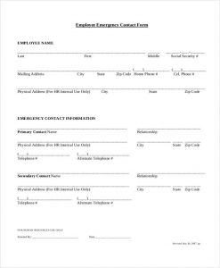 emergency contact form template employee information emergency contact form
