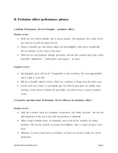 employee agreement template probation officer performance appraisal