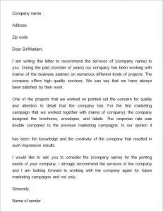 employee contract sample letter of recommendation for a business