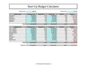 employee contract sample start up budget calculator