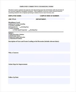 employee counseling form employee corrective counseling form