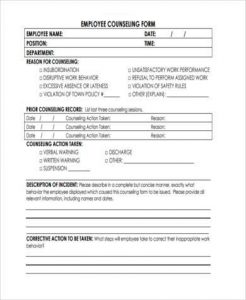 employee counseling form generic employee counseling form