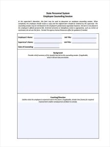 employee counseling form hr employee counseling form