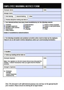 employee disciplinary write up form employee write up warning notice form x