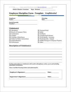 employee discipline form discipline template form of employee